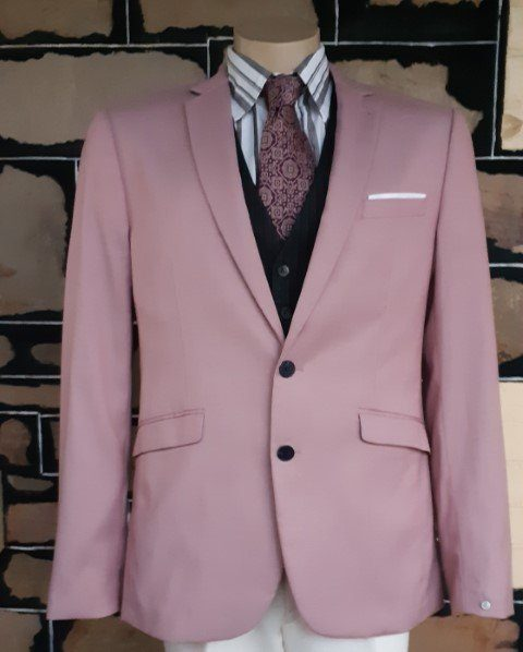 Dinner Jacket by 'Connor', pink, polyester, 1960's inspired, size L