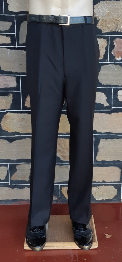 """Vintage Black trousers, terylene/polyester by 'Heaton Sovereign', Made in England, size 40"""""""