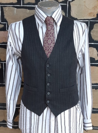 Waistcoat, Pinstriped, Charcoal, wool/polyester, USA imported, size M