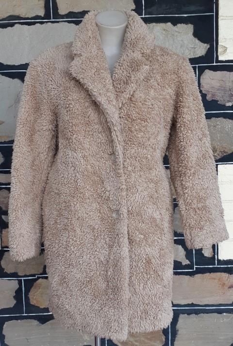 Faux Fur Sheepskin 3/4 length coat, 70's inspired, beige, size 14