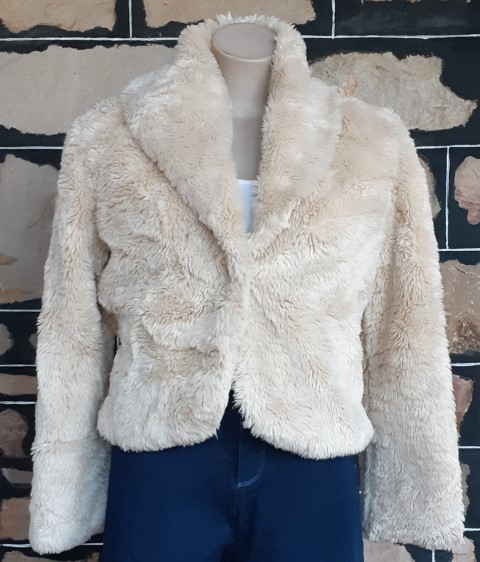 Faux Fur Cropped Jacket, Cream, Polyester size 16