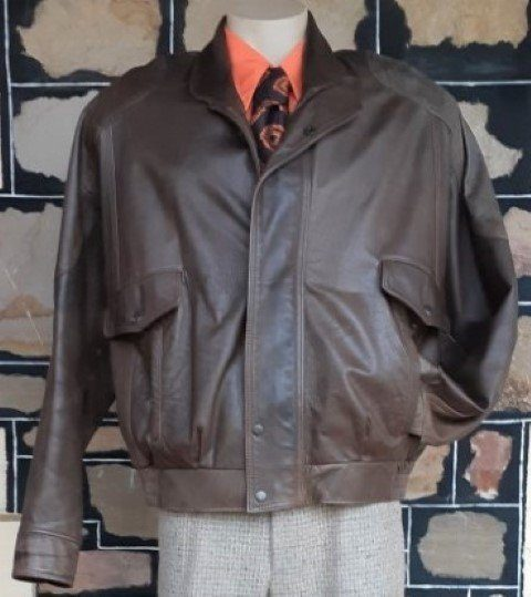 Leather Bomber Jacket, brown, 1980's, by 'Torino' made in New Zealand, size XL