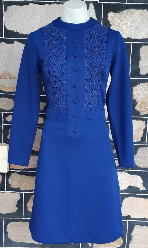 1960's, Long Sleeved, A-line dress, navy, polyester, by 'Elegant Lady', size 10
