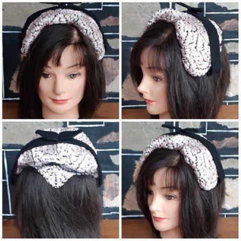 1940's Crescent Hat, Lavender/black, Raffia, nylon/lace.
