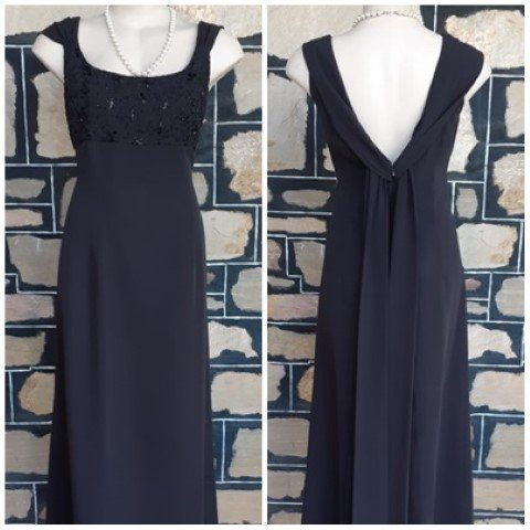 1980's Evening Gown, 20's inspired, Black, polyester by 'Papell Boutique' size 14