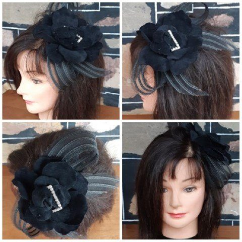 Fascinator, black lace/cord/diamantés, side clip or broach.