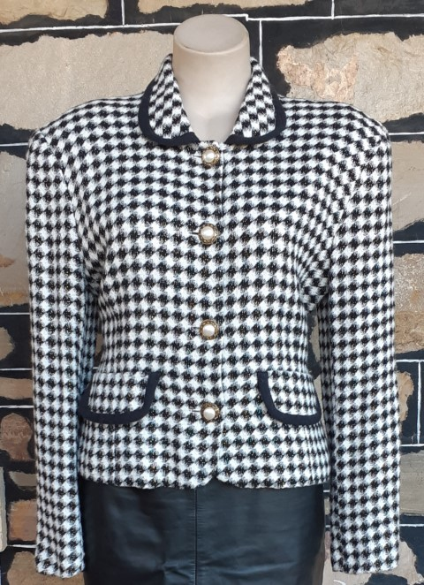 Hounds Tooth Jacket, polyester, 1960's inspired, by 'Sandra Soulos', size 14