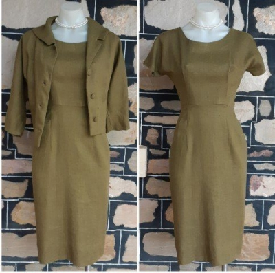 1960's Linen Sheath Dress and Cropped Jacket, olive, size 8
