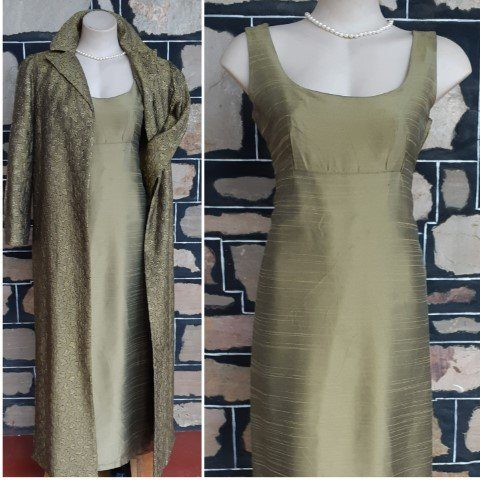 1960's Evening Gown and Coat, olive, Silk, size 12