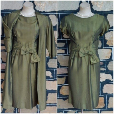 1960's Dress and Coat, Olive, rayon, by 'M.Block of Melbourne' size 10