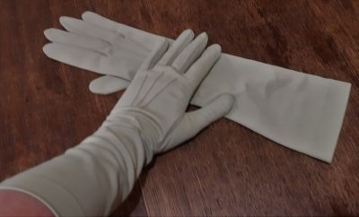 Vintage 3/4 length glove, sage, nylon, made in West Germany, size 7