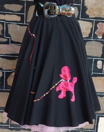 'Poodle' Applique 50's swing skirt + net petticoat, cotton/nylon, black/pink