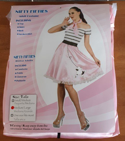 'Nifty Fifties' costume, top, skirt, belt + neck tie, polyester, pink/white, size M