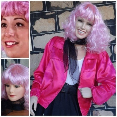 'Frenchie' from Grease costume. Wig, jacket + neck tie, pink, polyester, size L