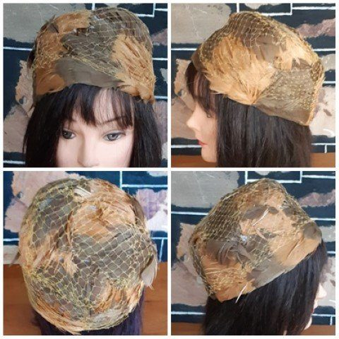 1960's, Pill Box hat, feathers/ mesh, copper tones, 55cm circumference