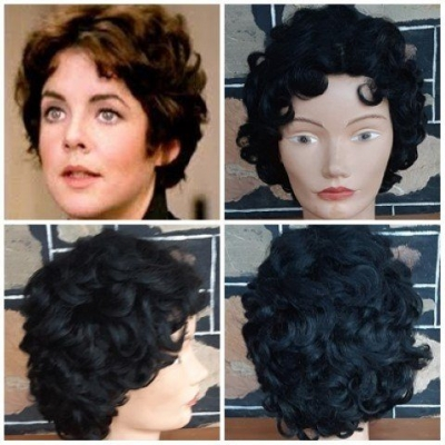 'Rizzo' wig, synthetic, black, ex-display.