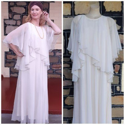 Evening Gown, 1970's, Chiffon/polyester, Cream, by 'Jean Varon', size 10-12