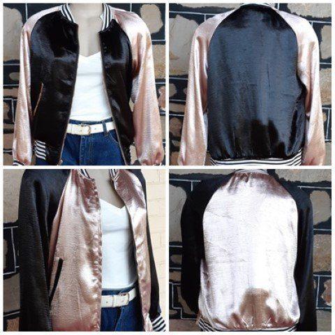 Bomber Jacket, Rock-a-billy, pink/black, satin polyester, reversible, size 10-12