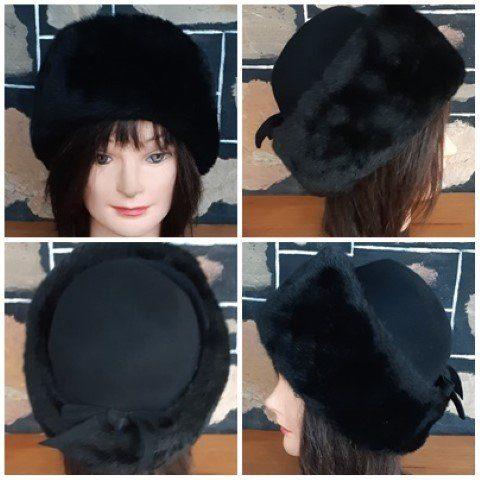 1960's Faux Fur/ wool felt hat, Black, 57cm circumference