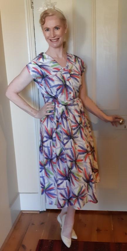 1940's day dress, cotton, cream floral print, handmade, size 12