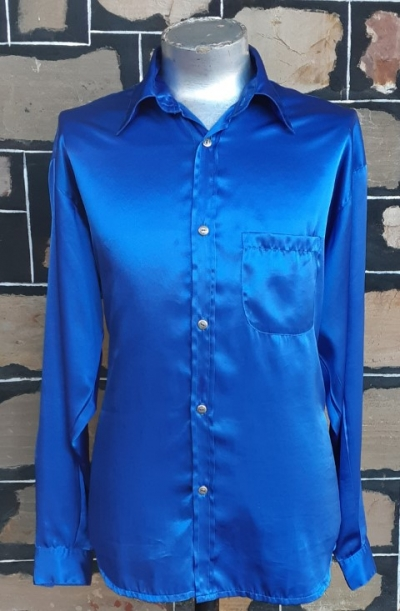 Disco shirt, electric blue, polyester, 1980's, by 'Saville Row' size L