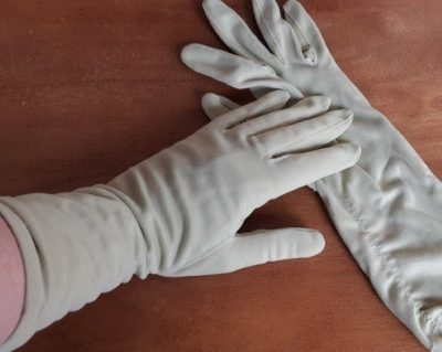 Vintage gloves, sage, 3/4 length, nylon, by 'Mambo', size 7.5