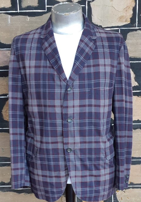 Checked Jacket, 1980's, grey/navy/maroon, polyester, USA, size L-XL