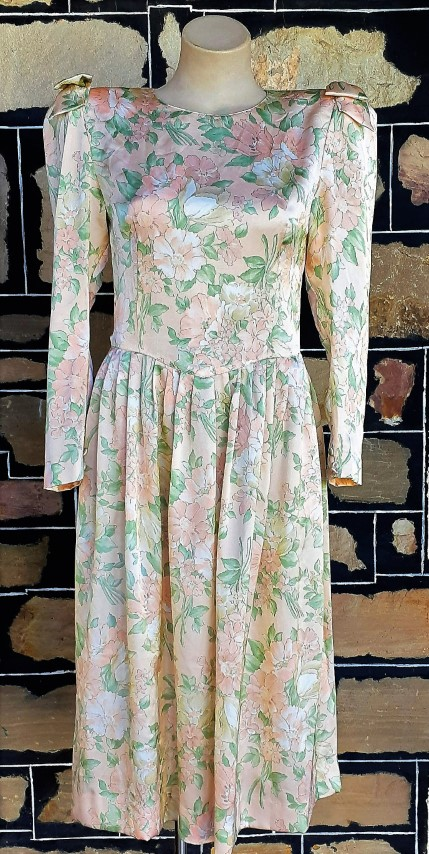 1980's, Long sleeved dress, apricot floral print, polyester, by 'Hiyoshiya' size 10