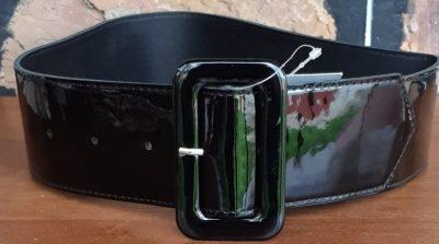 Patent black belt, by 'Hell Bunny', polyurethane/elastane