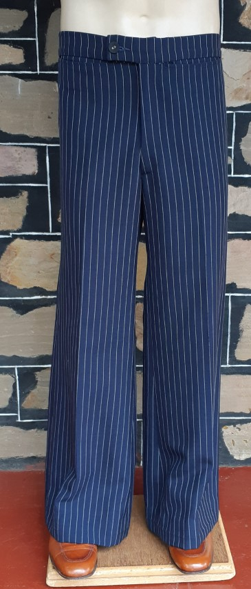 """Flares, 1970's, navy pinstriped, by 'Mark Andrew', wool/poly, size 34"""""""