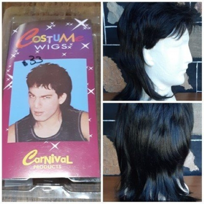 Mullet wig, black, by 'Carnival Products', synthetic