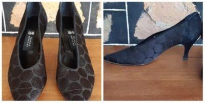 Court shoe, black spot mesh, leather, by 'Franco Burrone' size 8
