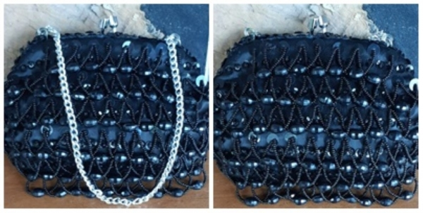 Evening bag, black beaded, by 'Lanza' of Italy, small
