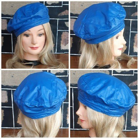 Beret, leather, 1970's, electric blue.