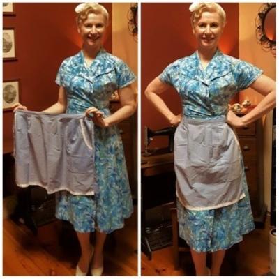 Vintage Apron, cotton, blue, handmade.