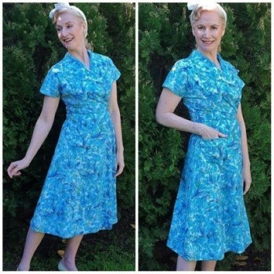 1950's House Dress, blue floral, cotton, hand made, size 10-12