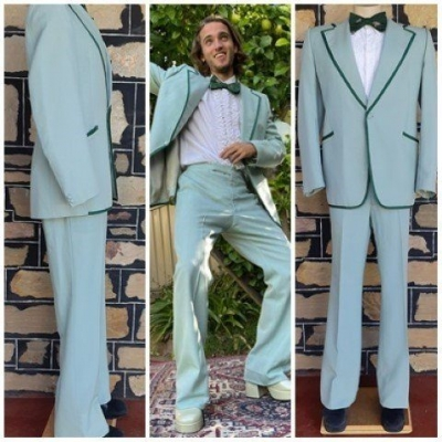 Disco Suit, 1970's, Pale Green, wool/polyester, by 'Glen Ford', size L
