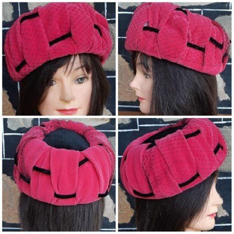 Pill Box Hat, pink /black velvet, with netting, by 'Robit Hats', size 53cm