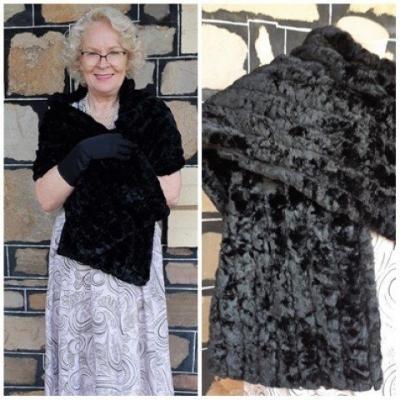 Vintage Wrap, black, faux fur, by 'Raemink', USA, polyester