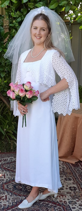 1970's Wedding Dress, Bell sleeved, poly/cotton, handmade, size 10-12
