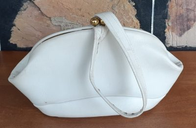 1950's White Leather handbag, Made in Italy, Small.