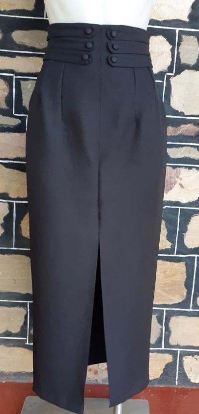 Pencil skirt, midi, black, polyester, by 'UNik', size 8