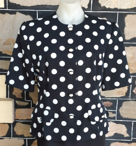 Jacket, short sleeve, black/white polka-dot, cotton by 'Janina Schreck' size 12