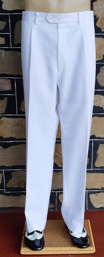 """White Bowling trousers, polyester, by 'City Club' size 43"""" waist."""