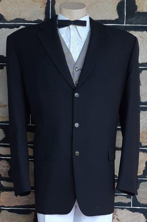 Blazer, black, 60's cut, single breasted, wool, by 'Flair' size XL