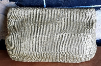 Vintage Clutch Bag, gold, knitted lurex, polyester