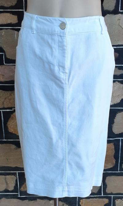 White Denim Pencil Skirt, Cotton, by 'W.Lane' size 12