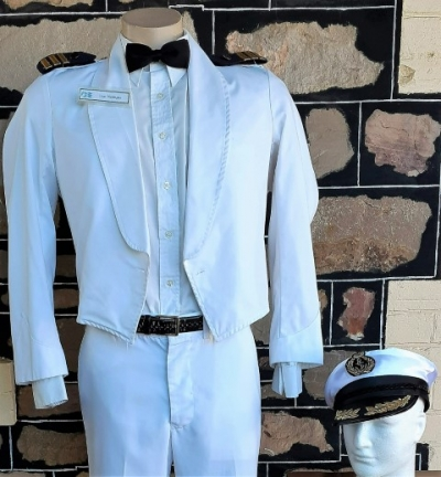 Waiters Jacket & Hat for Cruise ship, white, cotton, by 'Ray Uniforms', size M