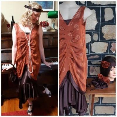 Charleston Costume, dress, headband & bag, cinnamon/ brown, polyester, size 12