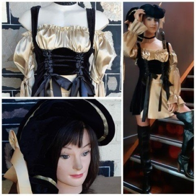 Pirate Girl dress and Hat, cotton/polyester, black/gold, by 'Elevate', size 10